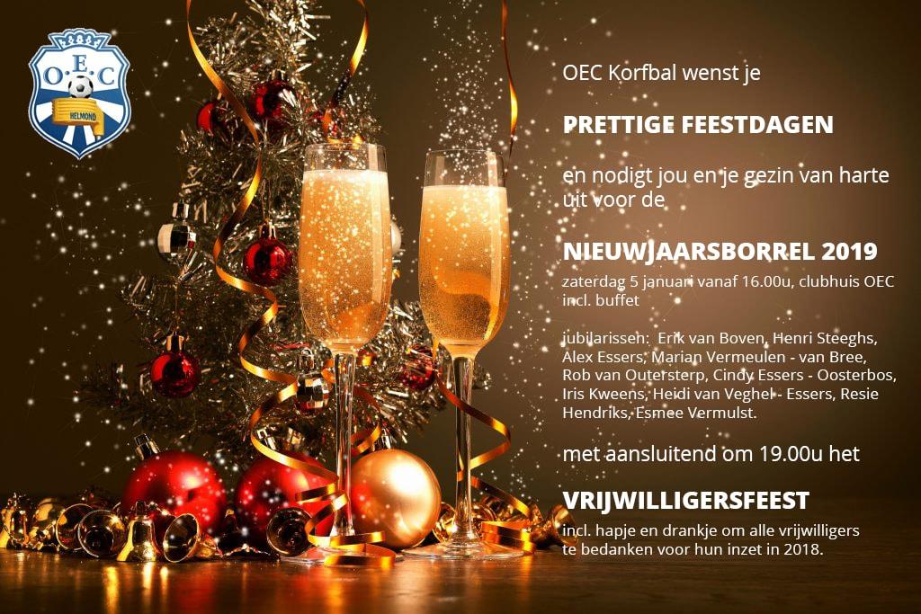 Prettige Feestdagen En Uitnodiging Nieuwjaarsborrel 2019 & Vrijwilligersfeest