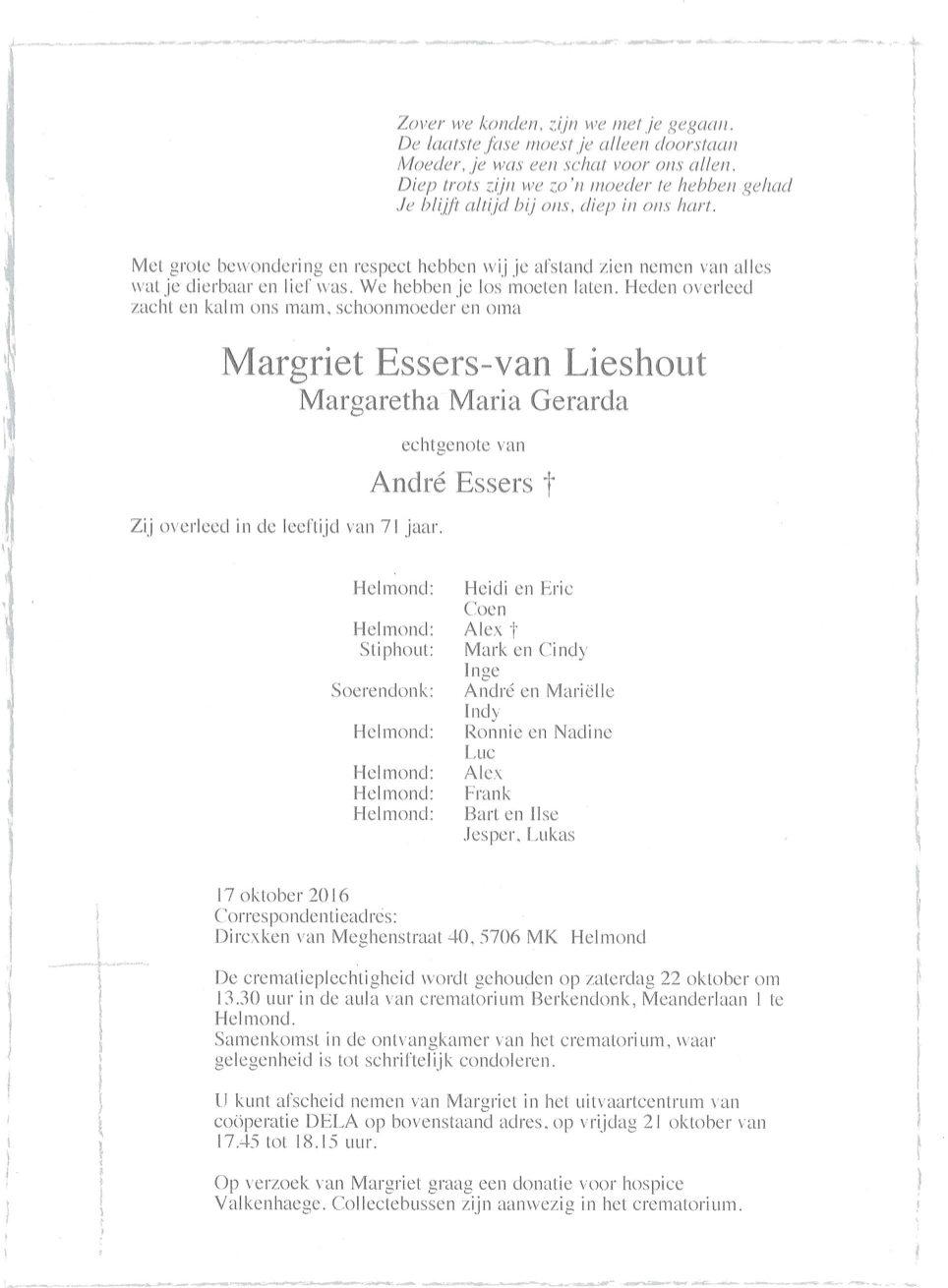 Margriet Essers Overleden